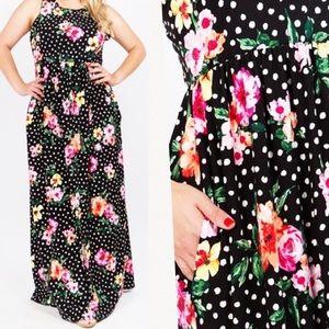 Plus Size Floral Print Polka Dot Dress 1X